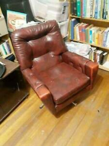 Red Leather Armchair in Good Condition