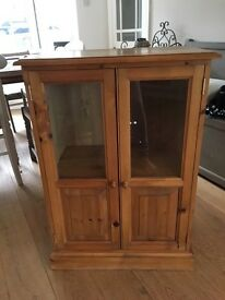 wooden cupboard with glass doors - can be painted