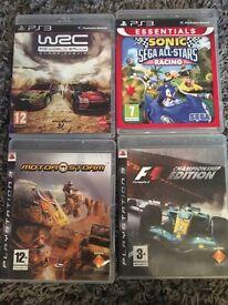 PS3 sonic&saga all-stars racing.F1 championship edition.motor storm.w2c fia world rally