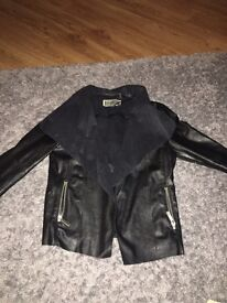 Black leather newlook waterfall jacket