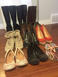 Lot of 12 shoes, tall boots, booties, and heels! A+