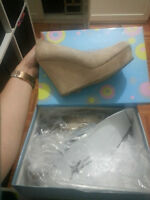 brand new nude suede wedges size 7
