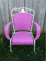 Beautiful pink wicker chair