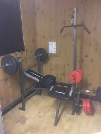 MaxiMuscle weights bench and weights