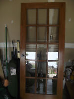 Beautiful pine french door with hardware 34 `by 80