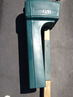 Classic plastic mailbox;  including wooden post