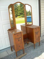 Vanity with Tri-Fold Mirrors & 6 Drawers, over 80 years old.