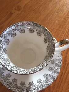 Royal Albert silver wedding tea cup and saucer Windsor Region Ontario image 2