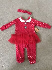 Baby girl Christmas fairy outfit sleepsuit 6-9 months NEW