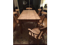 Great farmhouse table with 6 chairs (2 carver), very strong, 5ft L
