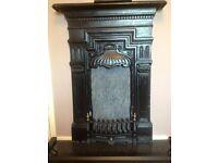 Antique Edwardian/Victorian Cast Iron Fireplace & Hearth