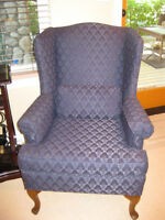 2 Dark Navy Wing Back Chairs: $349 ea