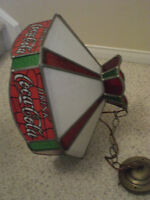 VINTAGE COCA_COLA STAINED GLASS CEILING LIGHT