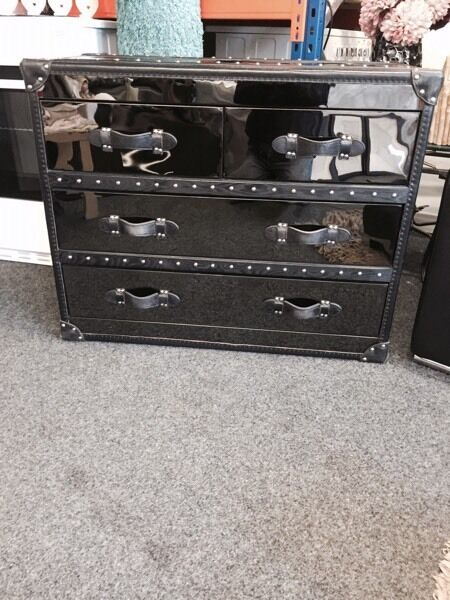 Aviator gun metal and leather drawers £250