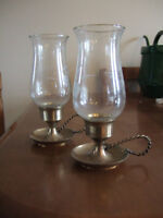 Pair of Brass candle holders with glass globes
