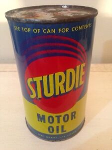 Rare FULL Sturdie motor oil tin can gas pump sign