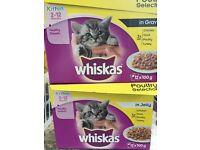 Two boxes of whiskas kitten pouches