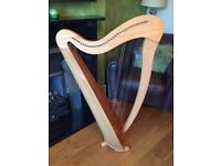Gwydir II 34 string lever Welsh harp inc. spare strings, music books and carry case