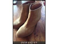 ALL SAINTS HESSIAN METALLIC GOLD LEATHER ANKLE BOOT SZ41