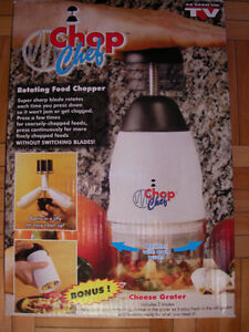 Chop Chef, Rotating Food Chopper, includes Cheese Grater!  New
