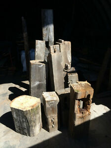 assorted hand hewn & sawn beam stumps