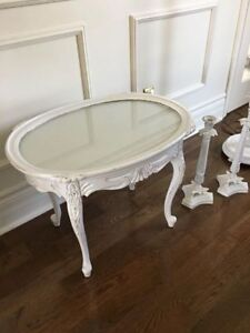 Vintage french end table with removable glass top