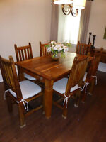 Gorgeous Indonesian Wood Dining Room Set with Chandelier