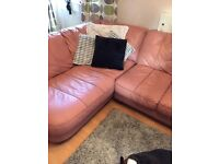Leather corner sofa and 2 seater with footstool