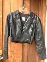 Ladies custom made leather crop jacket