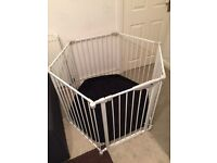 Mothercare White Metal Playpen With Black Play Pen Mat