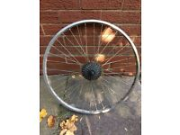 "26"" mountain bike rear wheel with 8spd cassette"