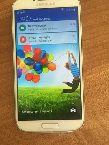 Samsung galaxy s4 16gbin Telford, ShropshireGumtree - Samsung Galaxy s4 16gb with 32gb memory card in good condition comes with charger and box unlocked to all networks got bit of wear and tear at bottom of screen as shown in pic 75 or swap