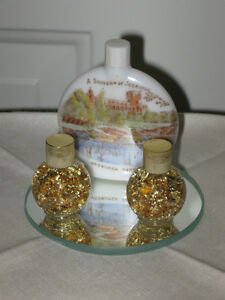 ...THREE COLORFUL OLD VANITY TRINKETS for Your DRESSER...