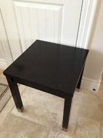 black solid wood table