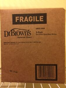 Dr Brown's Natural Flow Glass Baby Bottles (3-pack, 8oz/240ml)