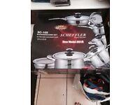 Scheffler 16 piece cookware pan set