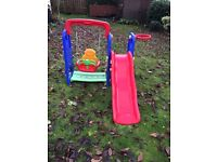 Childrens swing and slide with basketball hoop