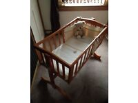 Swinging crib and Moses basket with stand