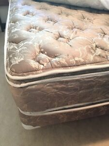 King size mattress and box spring with metal frame