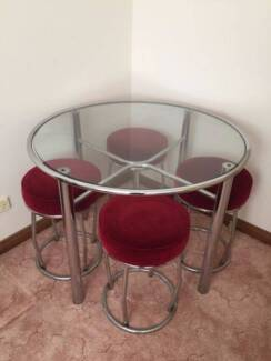 Retro Round Glass Table