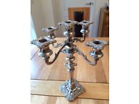 Regency Style Silver Plated 5 Arm and 3 Arm Candelabras