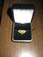 Silver Topaz Yellow Canary Ring - size 10 - NEW