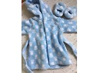 Baby dressing gown & slippers 3-6 months