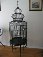 Wrought iron bird cage in excellent condition, standing >6' tall
