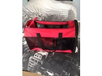 Red puppy or small dog travel bag