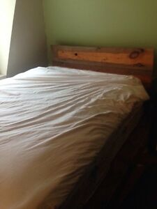 Amazing hand crafted repurposed wood bed frame
