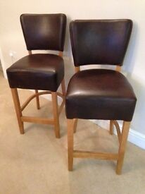 Oak and leather chairs