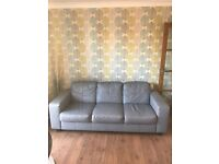 Grey Leather 3 Seater Sofa