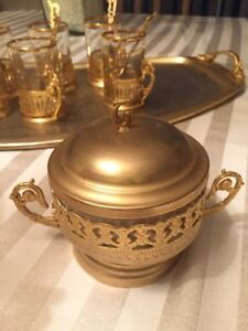 Traditional Persian Tea Cups with Gold Inlays + Sugar  bowl