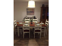 Very stylish solid upcycled country farmhouse dining table set